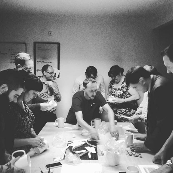 Image: Everyone focuses intently for the beginning of the mug prep!