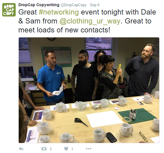 Image: DropCap Copywriting tweeted his thanks after the event